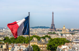 Skyline Paris with Eiffel Tower and French flag
